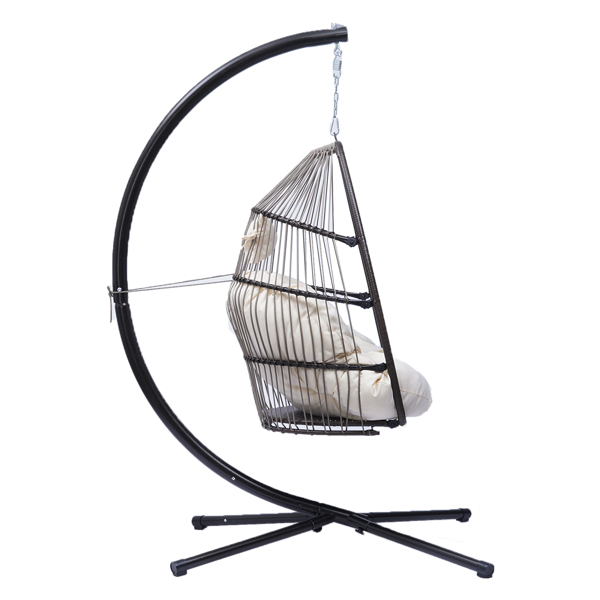 Patio Wicker folding Hanging Chair,Rattan Swing Hammock Egg Chair with X type Base and C Type bracket , with cushion and pillow,for Patio,Bedroom Balcony,Indoor,Outdoor,Beige