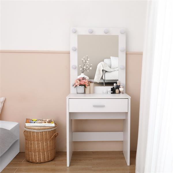 FCH Single Drawer Dresser with Light Cannon and Large Mirror White Cold Light