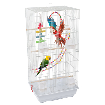 """36"""" Bird Parrot Cage Canary Parakeet Cockatiel LoveBird Finch Bird Cage with Wood Perches & Food Cups 3 Bird Toys White"""
