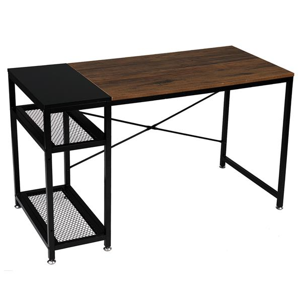 """FCH 51"""" Study Computer Desk Home Office Writing Desk PC Table with 2 Shelves Rustic Brown & Black"""