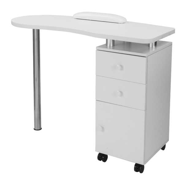 MDF with Triamine, Stainless Steel, One Door, Two drawers, Manicure Table, Removable, with Hand Pillow White