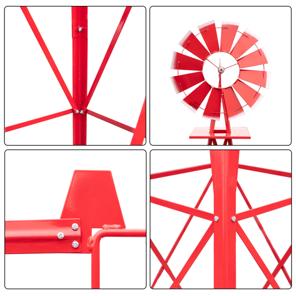 8FT Weather Resistant Yard Garden Windmill Red