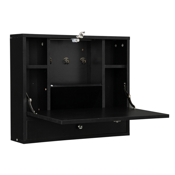 Density Board with Triamine Wall Built-up Computer Desk Black