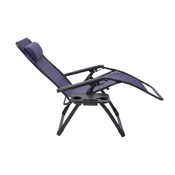 Large Size Outdoor Patio Folding Zero Gravity Lounge Chair,Camp Reclining Chair with Pillow and cup holder for Poolside,Backyard Lawn and Beach,Blue