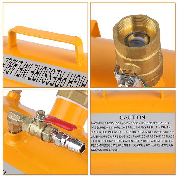 Seamless steel plate 10 gallons pneumatic tube inflator yellow