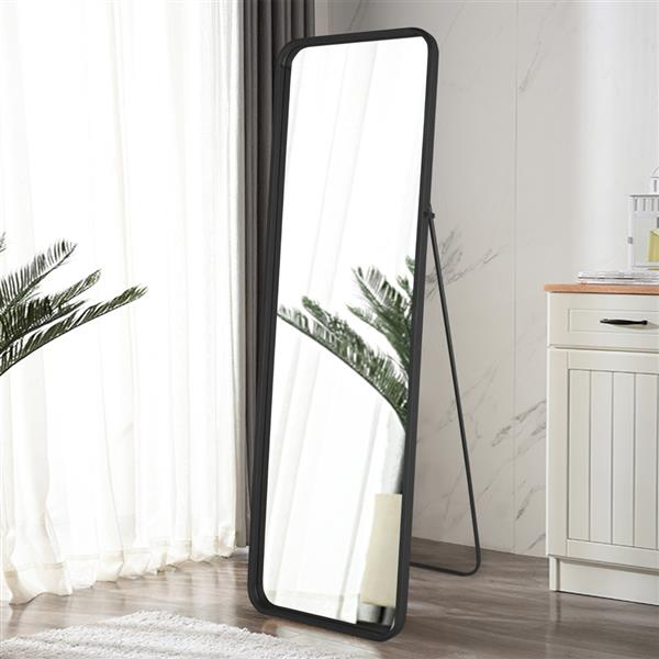 Artisasset 64.5 Inch High Black Rounded Frame With Floor Stand Wrought Iron Full-Length Mirror