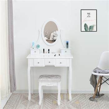 FCH Single Mirror 5 Drawer Dressing Table White