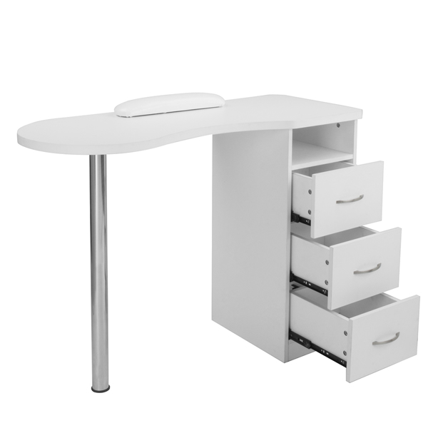MDF with Triamine, Stainless Steel, Three Drawers, Manicure Table with Hand Pillow  White