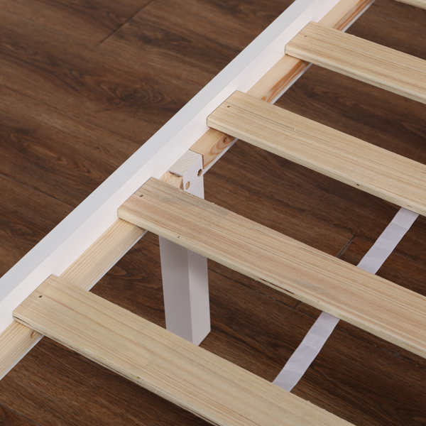 Vertical Board Bed Head Horizontal Bar Bed End Solid Wood Bed White 4FT6