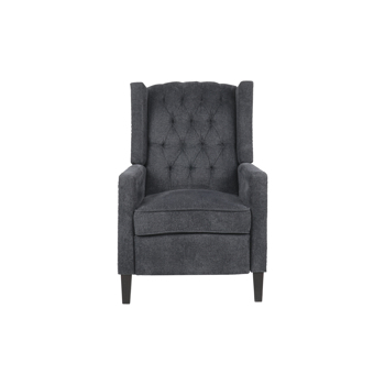 Classic Style Manual Recliner With Nailhead Trim Adjustment Chenille-Dark Gray