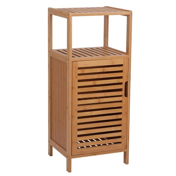 100% Bamboo Bathroom Floor Cabinet, Double Deck Shelf With Single Door And Cell For Stand-Alone Kitchen Cabinet, Living Room / Corridor / Bedroom / Kitchen Console Sofa Side Table Natural