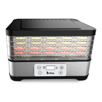 ZOKOP Food Dehydrator Large Drying Capacity with 5pcs Movable Trays, Temperature Time Adjustable, Height Adjustable, Fruit Dryer Meat Jerky Herbs BPA-Free