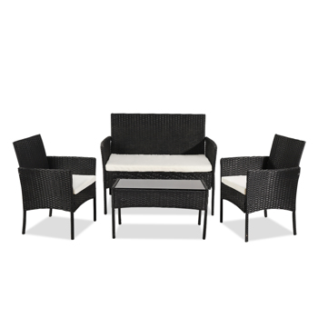 OSHION Outdoor Living Room Balcony Rattan Furniture Four-Piece-Black