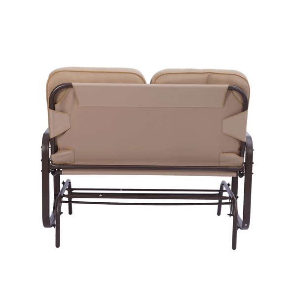 Garden Love seat , Outdoor Swing Glider Rocking Chair ,Patio Bench for 2 Person, Double Sofa,Patio Steel Frame Chair Set with Cushion, Beige