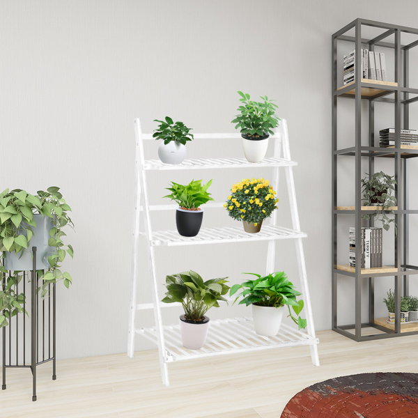 100% Bamboo Plant Frame Three Layers, Balcony Bamboo Frame Folding With Hanging Rod Flower Frame, Indoor Office Balcony, Living Room, Outdoor Garden Decoration--White