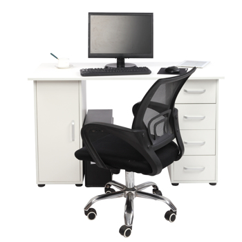 One Door Four Drawers Computer Desk White