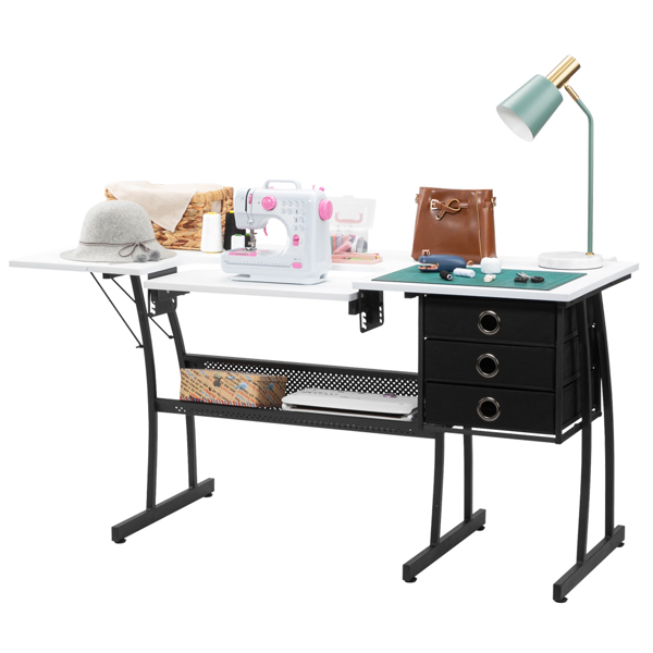 FCH Density Board   Iron Foot Tube with Lifting Board, with 3 non-woven Drawers, Sewing Table, can be used as a Cutting Table, White
