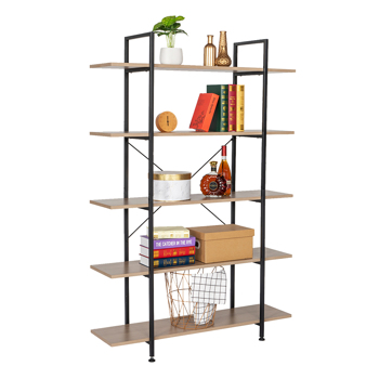 5-Tier Industrial Bookcase and Book Shelves, Vintage Wood and Metal Bookshelves,Gray