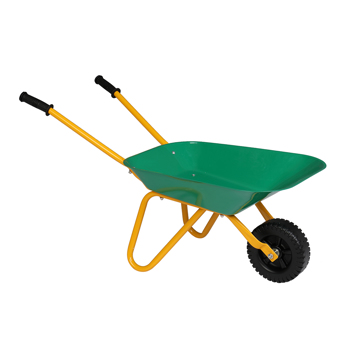 Kids Wheelbarrow Metal With Rubber Hand Grips, Outdoor Kids Toy Wheelbarrow Green