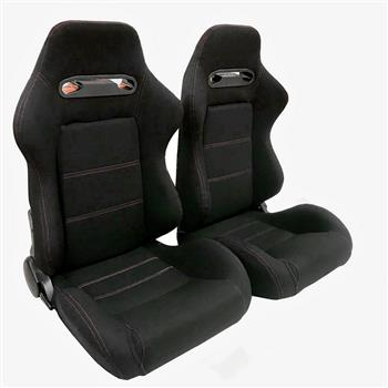 2pcs Left Right Reclinable Sports Bucket Racing Seats Red Stitch Black Cloth