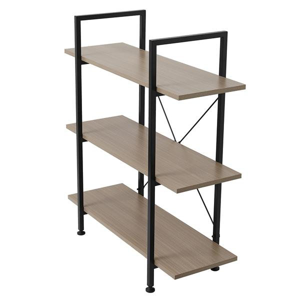 3-Tier Industrial Bookcase and Book Shelves, Vintage Wood and Metal Bookshelves,Gray