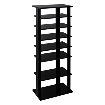 7 Tiers Shoe Rack,Wooden Shoes Racks, Entryway Shoes Storage Stand,Black Color