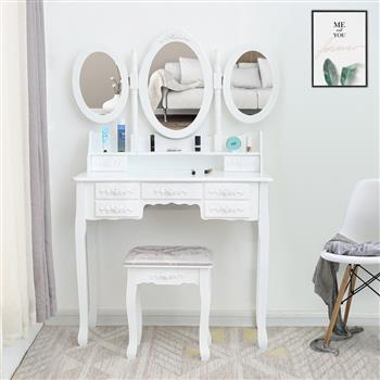 FCH Tri-fold Mirror 7 Drawer Dressing Table White