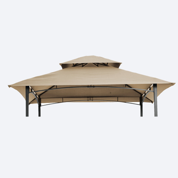 8x5Ft Grill Gazebo Replacement Canopy,Double Tiered BBQ Tent Roof Top Cover,Beige