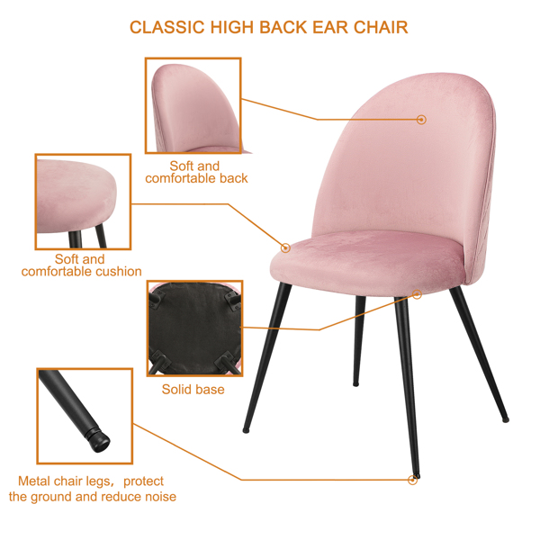Set of 2,  Exquisite Velvet Dining Ear Chair, Kitchen/Bedroom/Lounge Chair with Metal Wood Grain Color Legs, Pink C