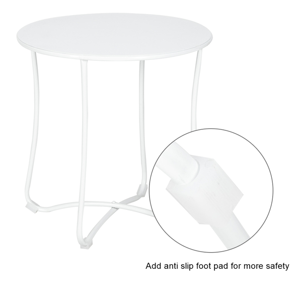 """18"""" Metal Countertop Small Round Table Terrace Wrought Iron Side Table White"""
