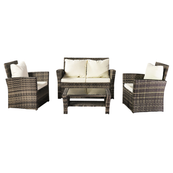 Oshion Outdoor Rattan Sofa Combination Four-piece Package-Grey  (Combination Total 2 Boxes)