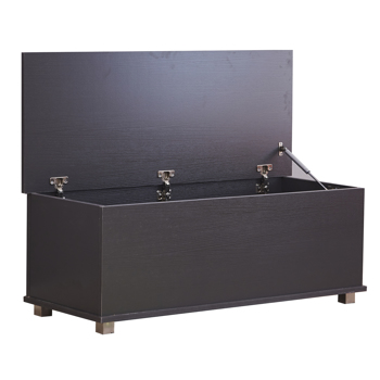 Ottoman Storage Trunk Toy Chest Bedding or Blanket Box Large Wooden , Black Color