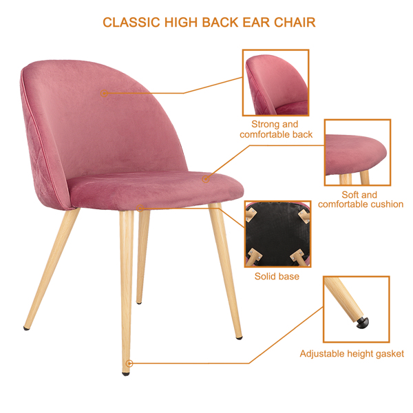 Set of 2,  Exquisite Velvet Dining Ear Chair, Kitchen/Bedroom/Lounge Chair with Metal Wood Grain Color Legs, Pink A