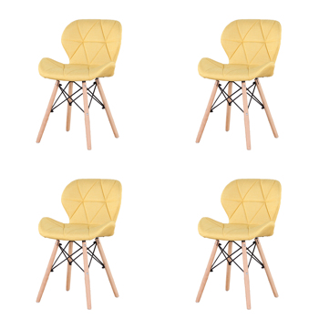 Set of 4 Exquisite Modern Ergonomic Design Dining Chair with Natural Beech Wood Legs for Dining Room, Office, Living Room, Kitchen, Yellow