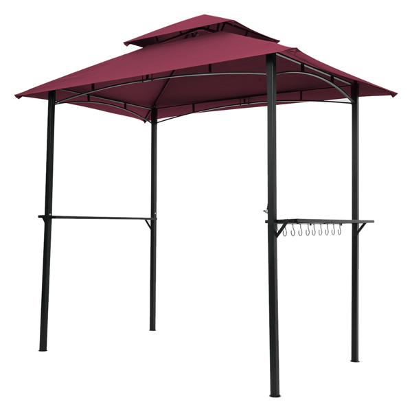 Outdoor Grill Gazebo 8 x 5 Ft, Shelter Tent, Double Tier Soft Top Canopy and Steel Frame with hook and Bar Counters,Burgundy