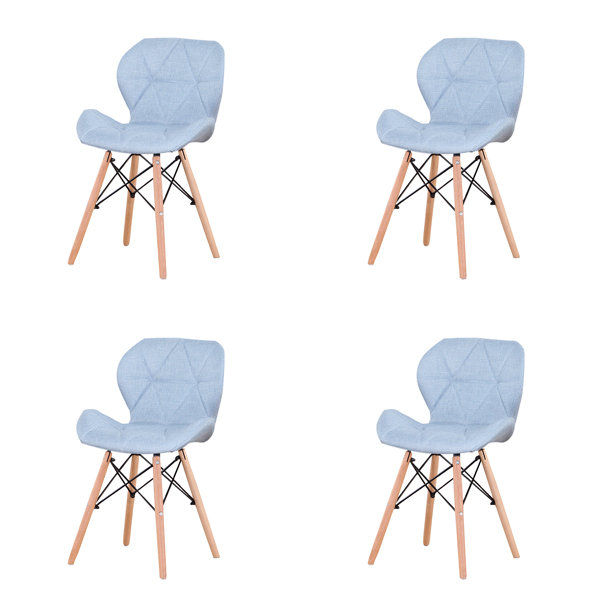 EDLMH Set of 4 Exquisite Modern Ergonomic Design Dining Chair with Natural Beech Wood Legs for Dining Room, Office, Living Room, Kitchen ,Blue