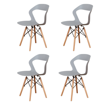 Living Room Chairs/Dining Chairs/Desk Chairs/Office Chairs/Leisure Chairs/Natural Beech Chairs with ABS backrest, a Set of 4,Gray