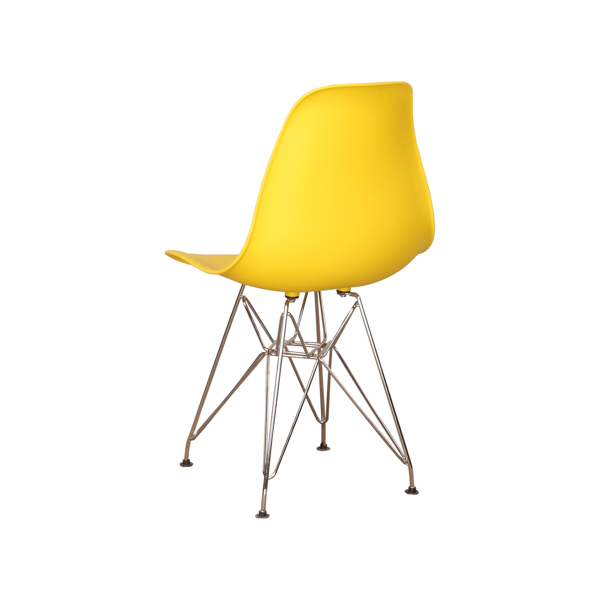 Set of 4 Modern Design Dining Chair with Chrome Metal Legs, Nordic Style Exquisite Design Chair for Living room, Office, Study, Bedroom, Yellow
