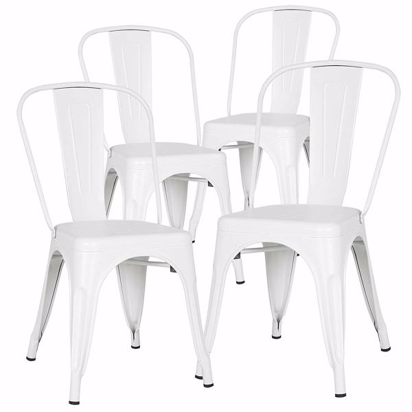 a Set of 4, Navy Chairs, Metal Chairs, Dining Chairs, Restaurant/Beach Chairs, White