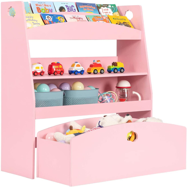 Kids Toy Storage and Bookshelf, 4 Shelves and One Large Rolling Bin w/Wheels, Children's Toy and Book Organizer Cabinet Unit for Playroom, Reading Nook, Toddler's Room, Nursery, Pink
