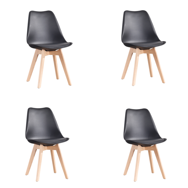 EDLMH Set of 4, ABS PP Nordic Dining Chair with Beech Wood Legs for Dining Room, Living Room, Office, Bedroom , Black