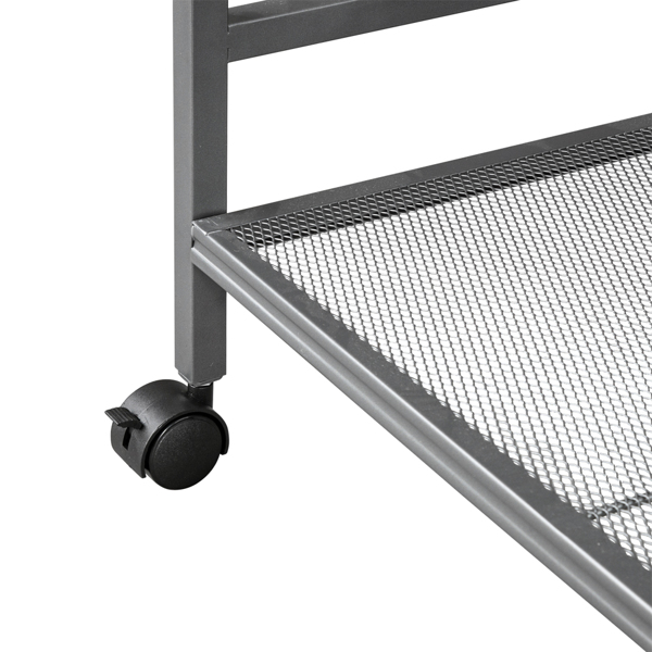 Hodely 3-Shelf Mesh Iron Shelving Unit with Casters for Home Kitchen Office Grey