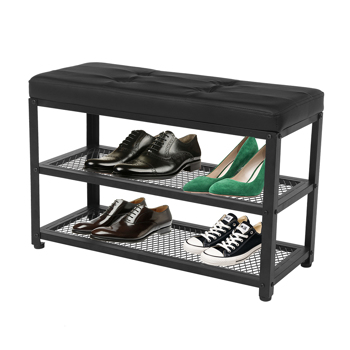 Entryway Shoe Rack with Cushioned Seat, 3-Tier Shoe Organizer,Blcak Color