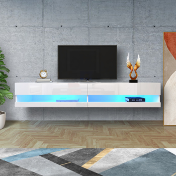 """180 Wall Mounted Floating 80"""" TV Stand with 20 Color LEDs White"""