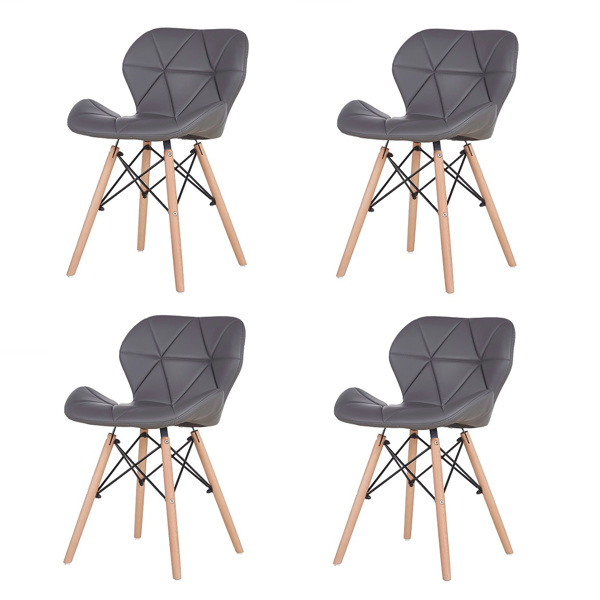 EDLMH Set of 4 Exquisite Modern Ergonomic Design PU Dining Chair with Natural Beech Wood Legs for Dining Room, Office, Living, Room, Kitchen, Gray