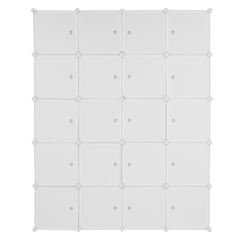20 Cube Organizer Stackable Plastic Cube Storage Shelves Design Multifunctional Modular Closet Cabinet with Hanging Rod White