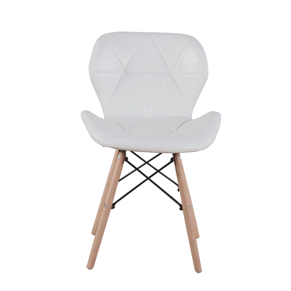 EDLMH Set of 4 Exquisite Modern Ergonomic Design PU Dining Chair with Natural Beech Wood Legs for Dining Room, Office, Living, Room, Kitchen, White