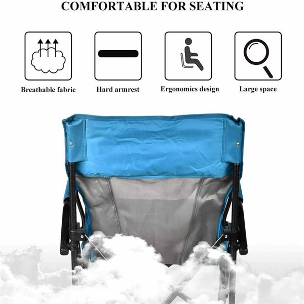Oversized Steel Tube Frame Folding Chair, 350 Pounds Capacity 600D PVC Powder-Coated Portable Camping Chair, Net Weight 11.13 Pounds, With Cup Holder And Cushion