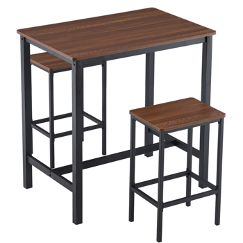 Industrial Style 2-person  Bar Table and Chair Set, 2 Bar Stools with Wood Grain Brown Triamine Board (90 x 60 x 91.5cm)