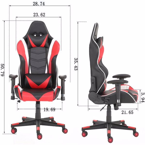 Gaming Chairs, Office Swivel Chairs, with headrest and Lumbar Pillow, Red
